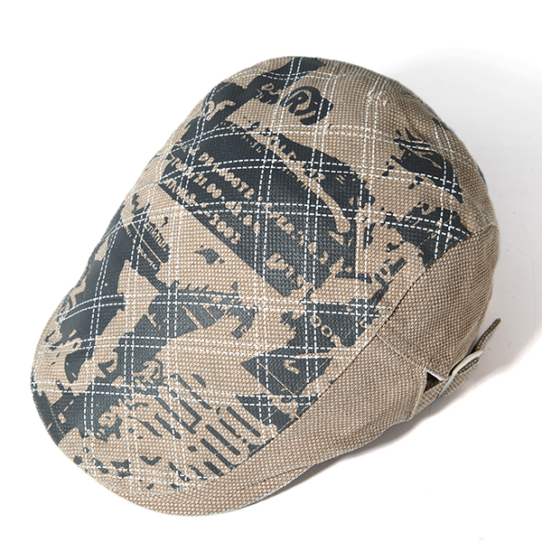 Men Grid Cotton Beret Cap Printed Adjustable Foward Hat Casual Outdoor Visor Hats
