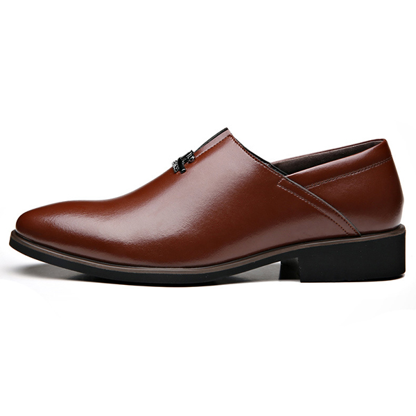 Men Comfortable Business Genuine Leather Slip On Formal Shoes
