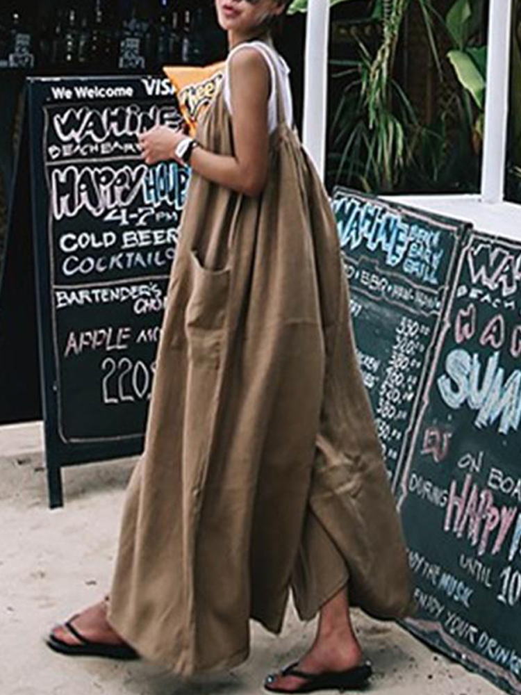 Women Casual Wide Leg Loose Straps Solid Overalls Jumpsuit