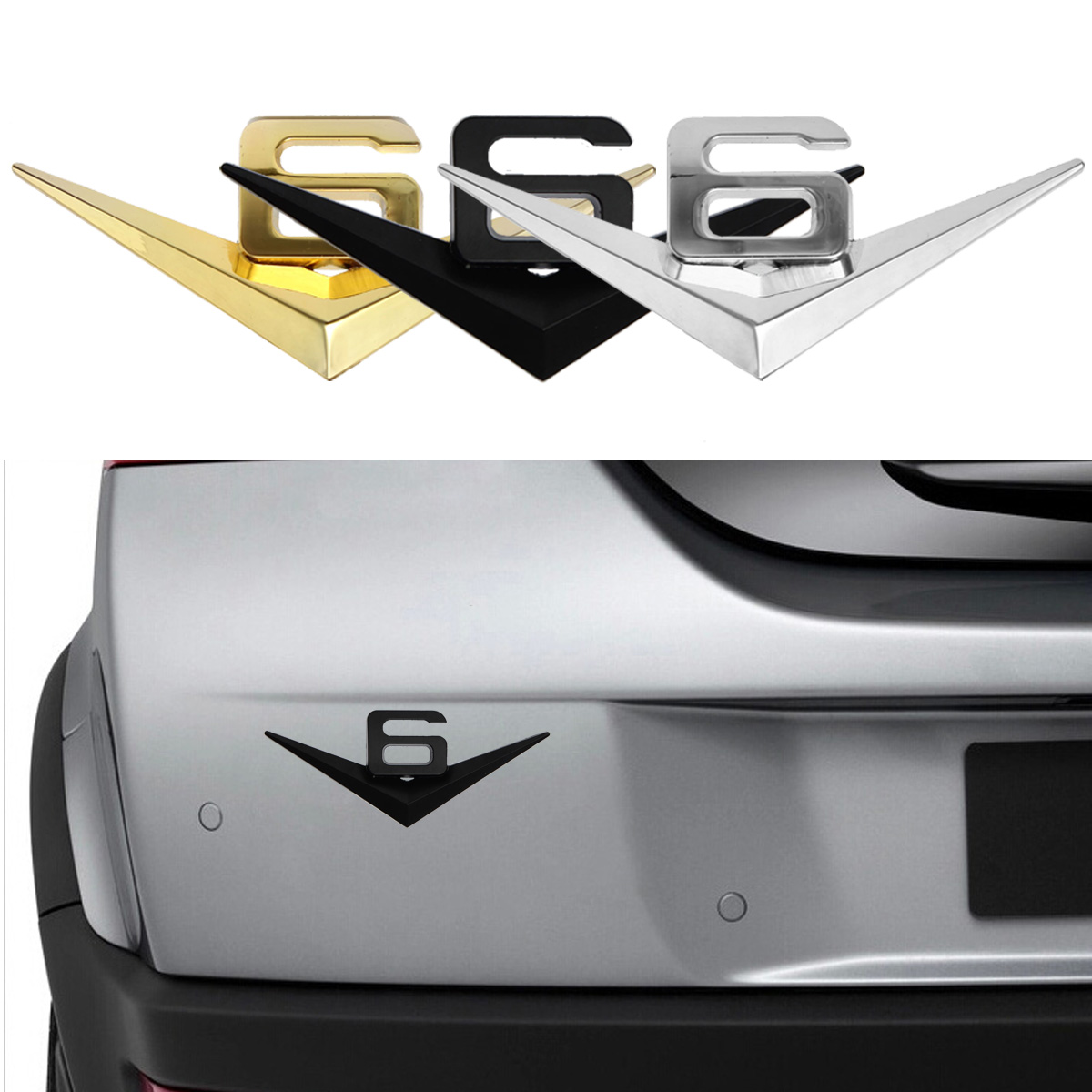 3D Car Metal V6 Emblem Decal Emblem Badge Truck Auto Motor Sticker 3 Colors