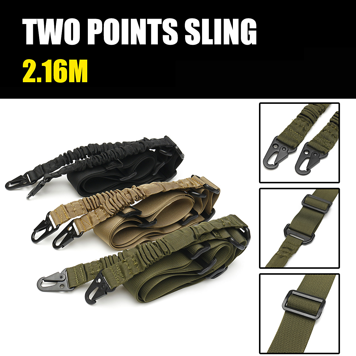 EDC 2 Point Sling Multi-Use Two Point Gun Sling String Clip Sling CS Tactics Gadget 2.16m