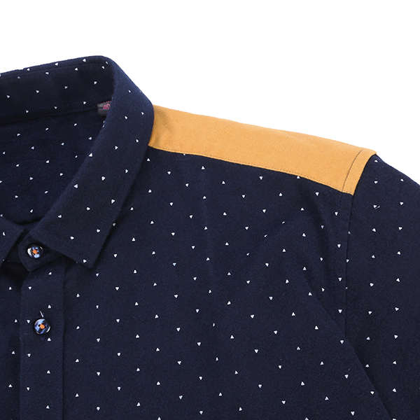 Navy Fall Winter Cotton Long Sleeve Dots Printing Patchwork Casual Button Up Shirt for Men