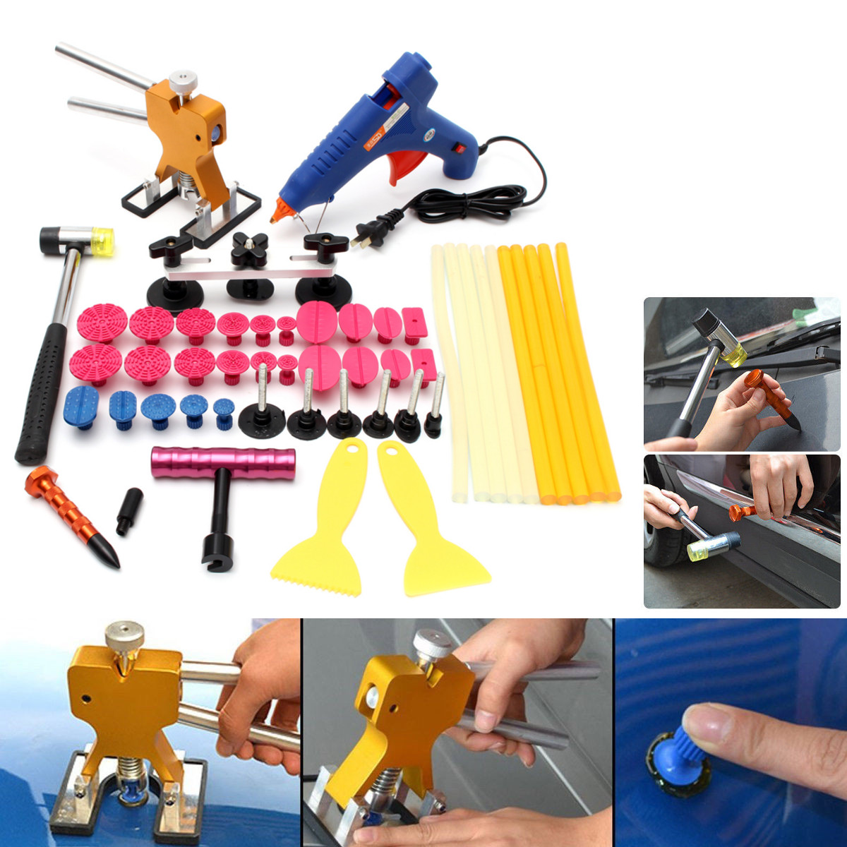 PDR Tools Paintless Dent Repair Removal Tools Rubber Hammer Dent Lifter Glue Gun Glue Sticks Kit
