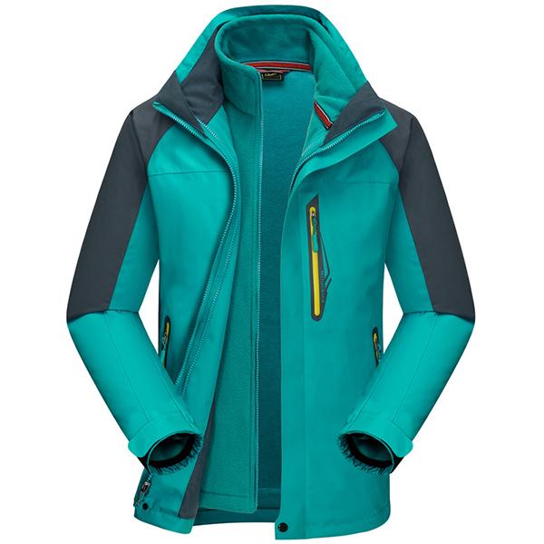 Mens Outdoor Sports 2 in 1 Waterproof Windproof Breathable Fleece Hooded Jacket