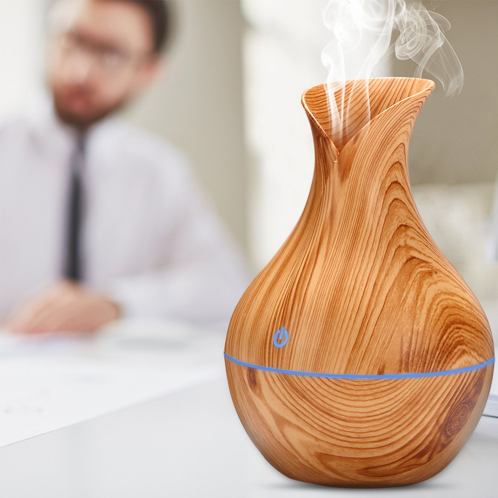USB Electric Wood Grain Ultrasonic Cool Mist Humidifier