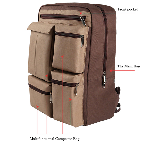 17inch Laptop Men Oxford Retro Business Travel Backpack Large Capacity