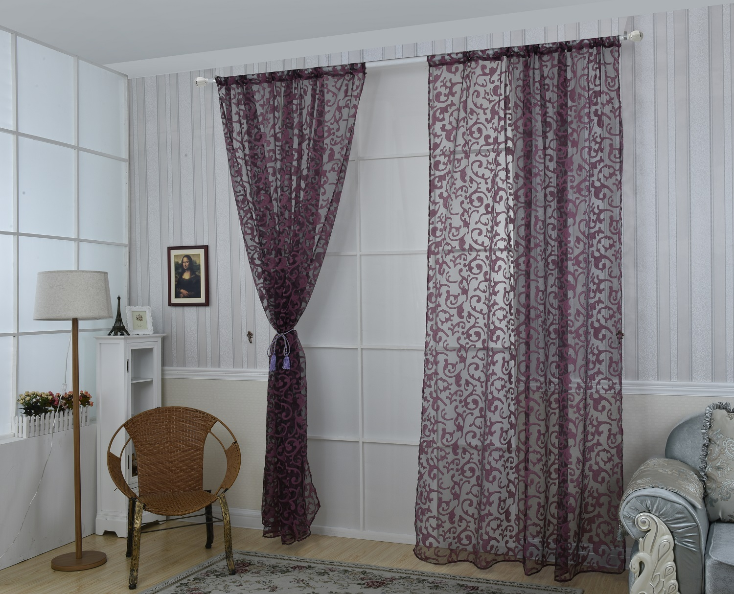 Honana WX-C9 1x2m Fashion European Style Voile Door Window Curtain Room Divider Sheer Curtain Home Decor