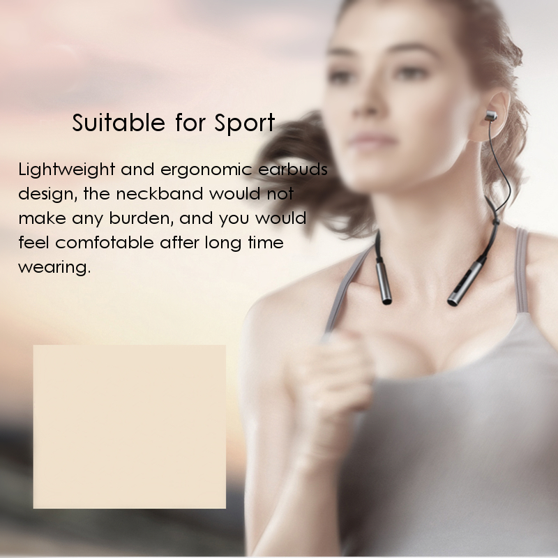 Binai B22 Magnetic Adsorption IPX4 Waterproof Necklace HiFi Bass CSR4.2 bluetooth Earphone With Mic