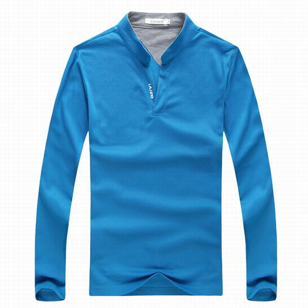 Mens Sports Solid Color Long Sleeved Golf Shirt