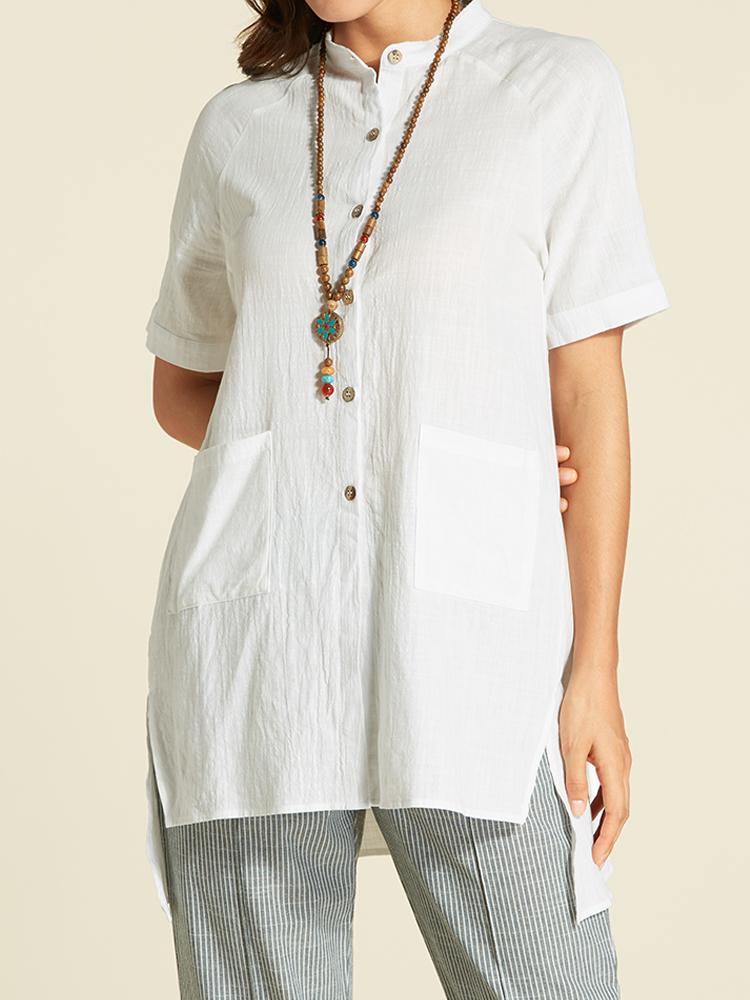 Vintage Women Short Sleeve Irregular Blouse