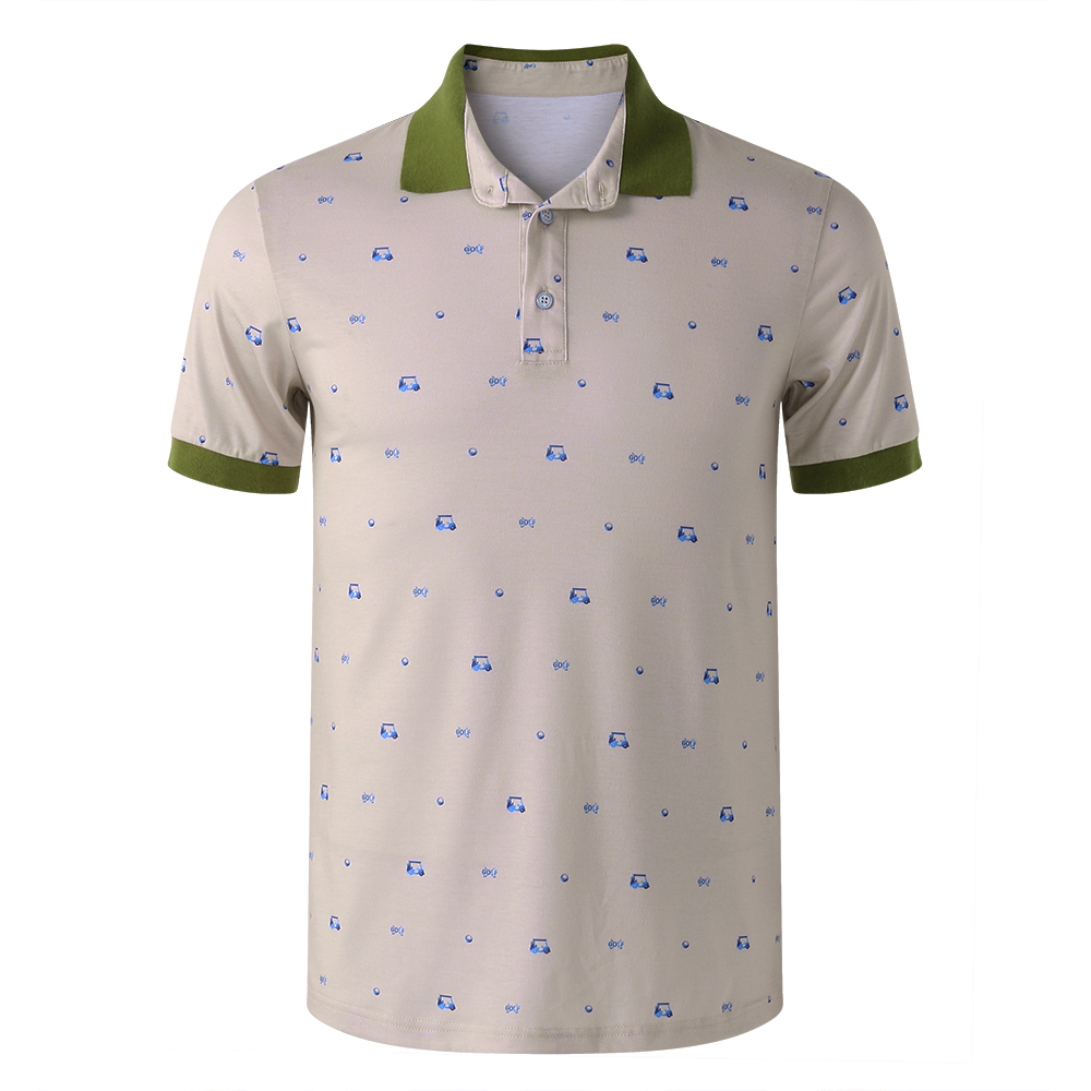 Men's Casual Printed Short Sleeve Golf Shirt