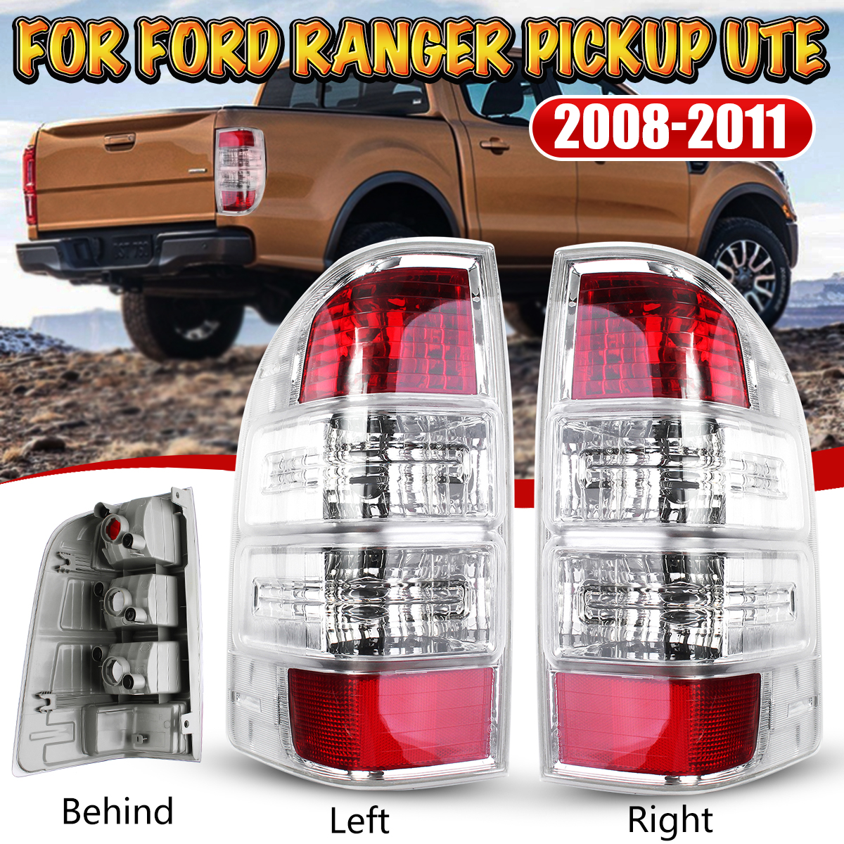 Car Left/Right Rear Tail Light Assembly Lamp with No Bulb for Ford Ranger Pickup Ute 2008-2011