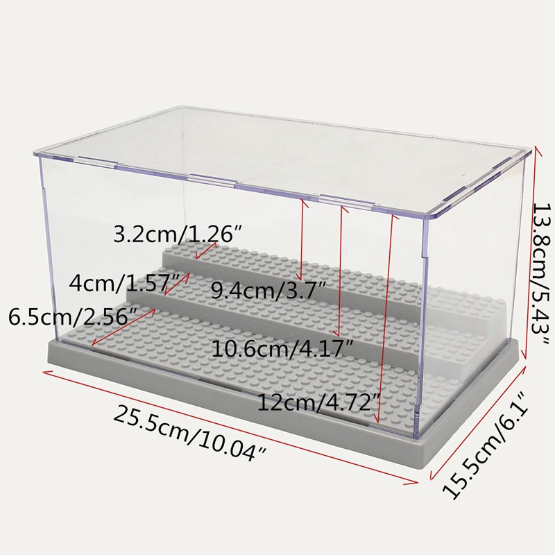 Display Case/Box Dustproof ShowCase Gray Base For Blocks Acrylic Plastic Display Box Case Model Toy