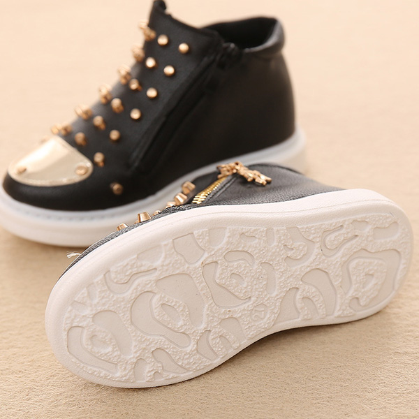 Children Rivet Pure Color Side Zipper High Top Sneakers Kids Casual Shoes