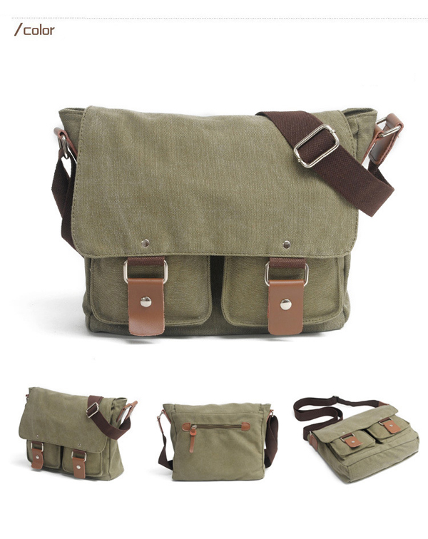 Men Canvas Messenger Camera Bag Vintage Shockproof Shoulder Bag