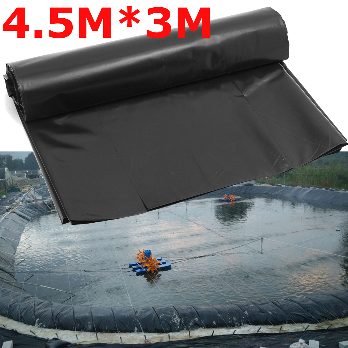 4.5X3M Pond Liner Gardens Pools Membrane Reinforced Landscaping Underlaymentent HDPE Cover