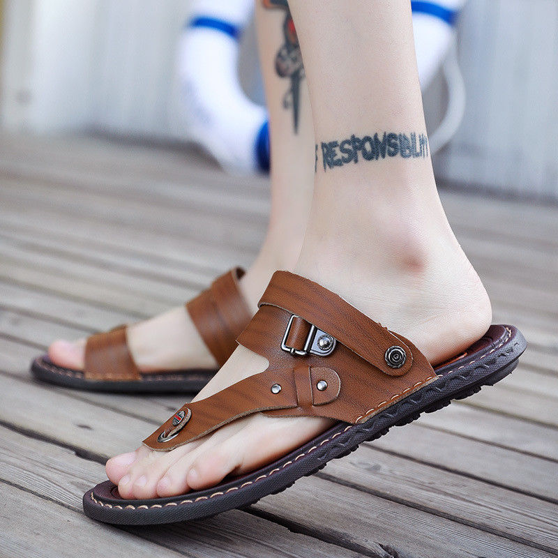 Summer Men Large Size Two Wear Clip Toe Leather Sport Beach Casual Shoes Sandals