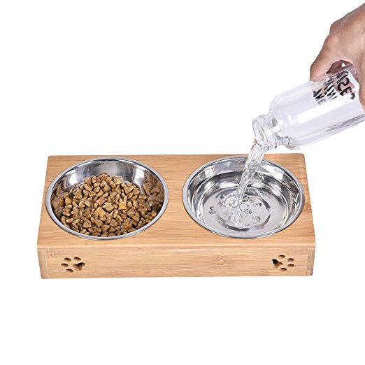 Double Pet Dog Bowl Stainless Steel Pet Bowl Bamboo Bottom Food Water Dual-use Pet Bowl