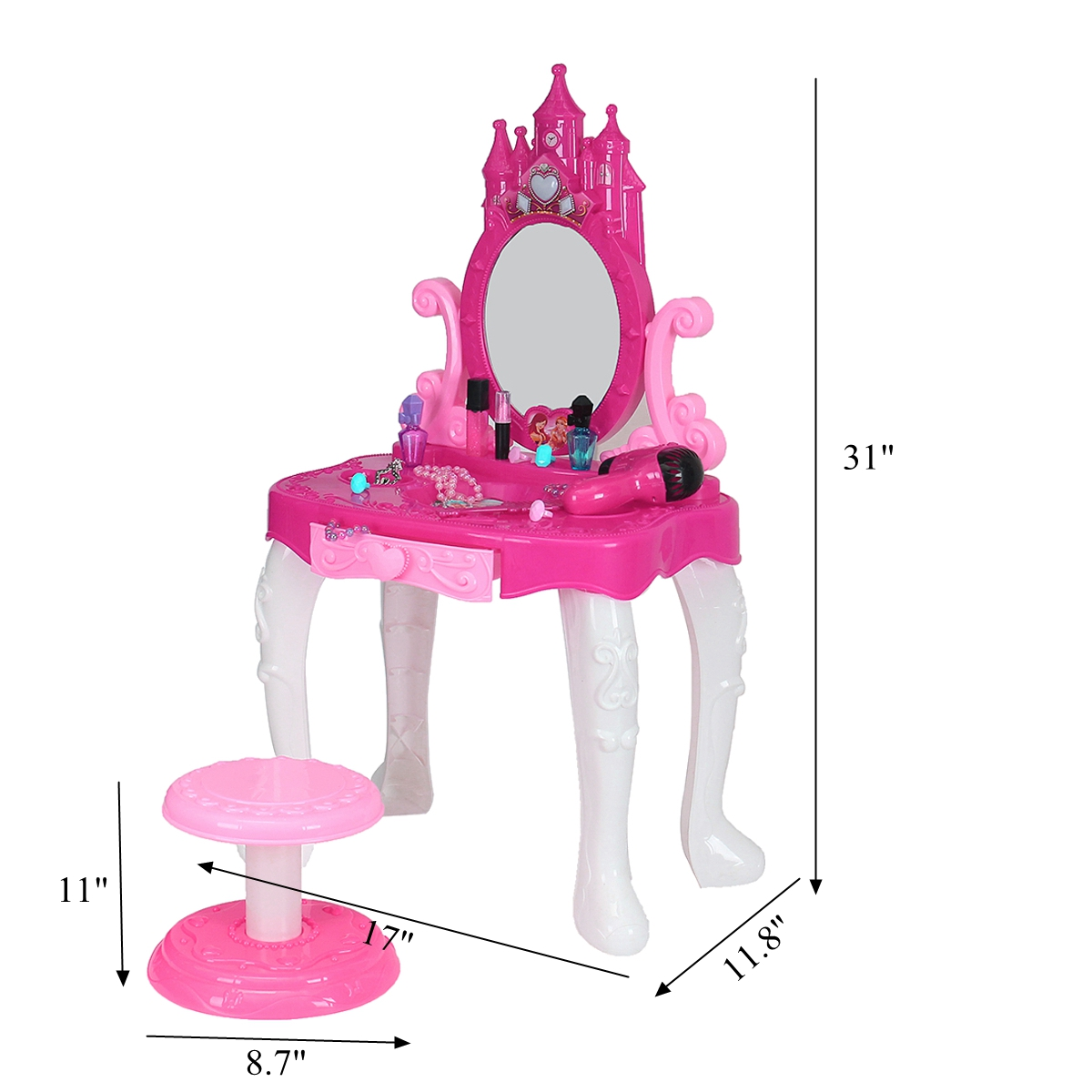 Kids Vanity Table Pretend Play Toy Set Cosmetic Makeup Hair Toddler Girl Toys Gift