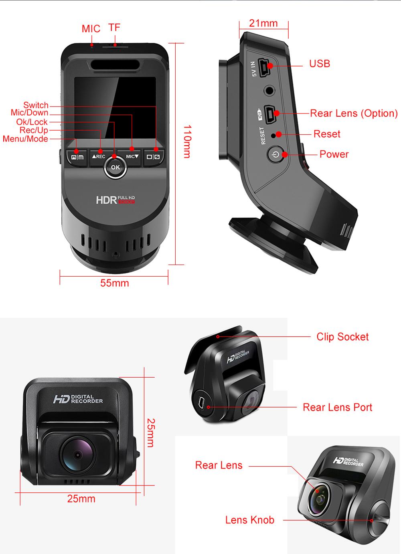 JUNSUN S590 170 Degree Dual Lens Car DVR Support Loop Recording
