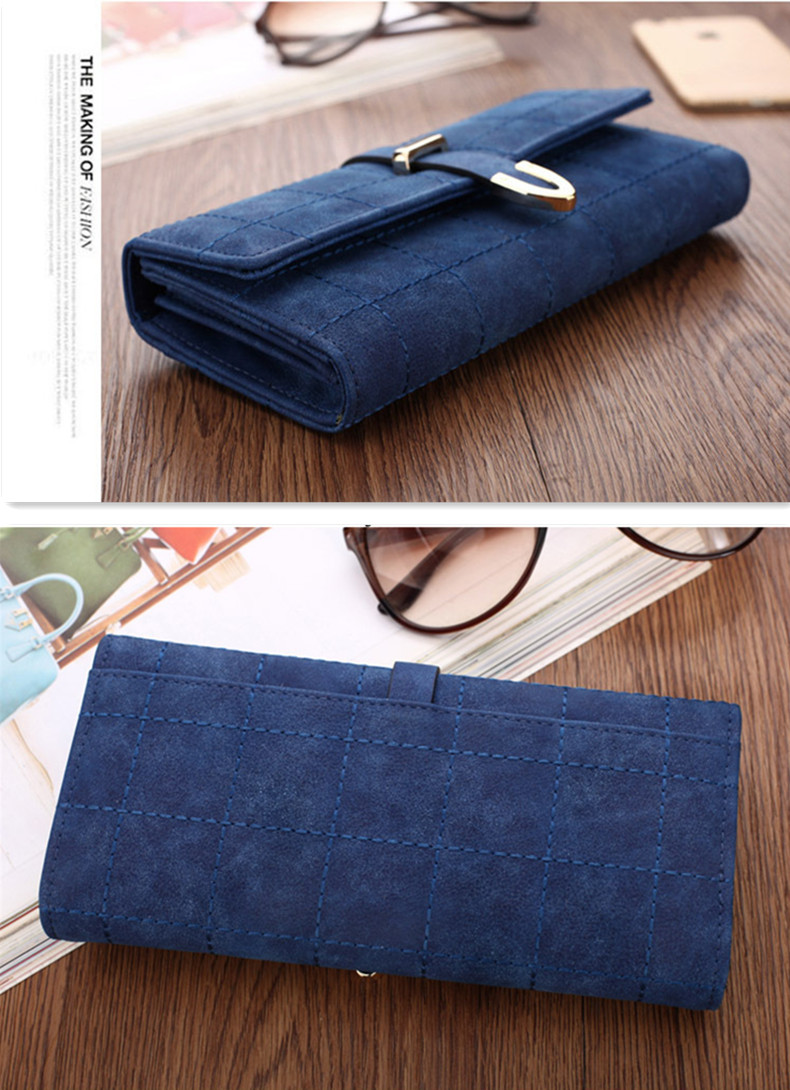 Women Lady Clutch Long Purse PU Wallet Phone Pocket Card Holder Buckle For Phone Below 5.5 Inch