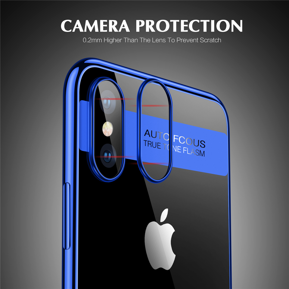 Bakeey Plating Transparent Soft TPU Protective Case For iPhone X