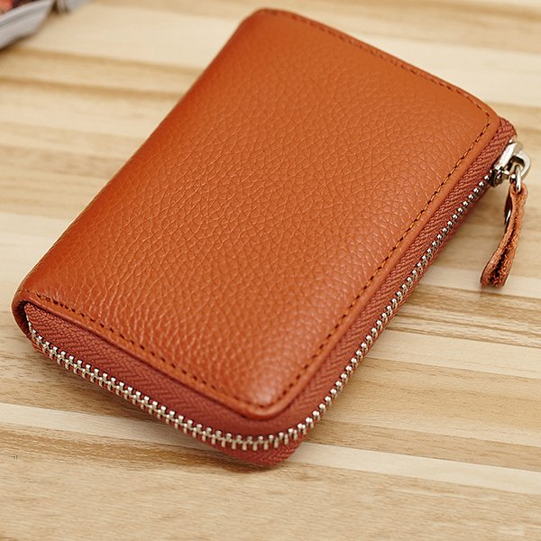 Women Men Genuine Leather Short Wallet Zipper Coin Bags Card Holder Key Bags