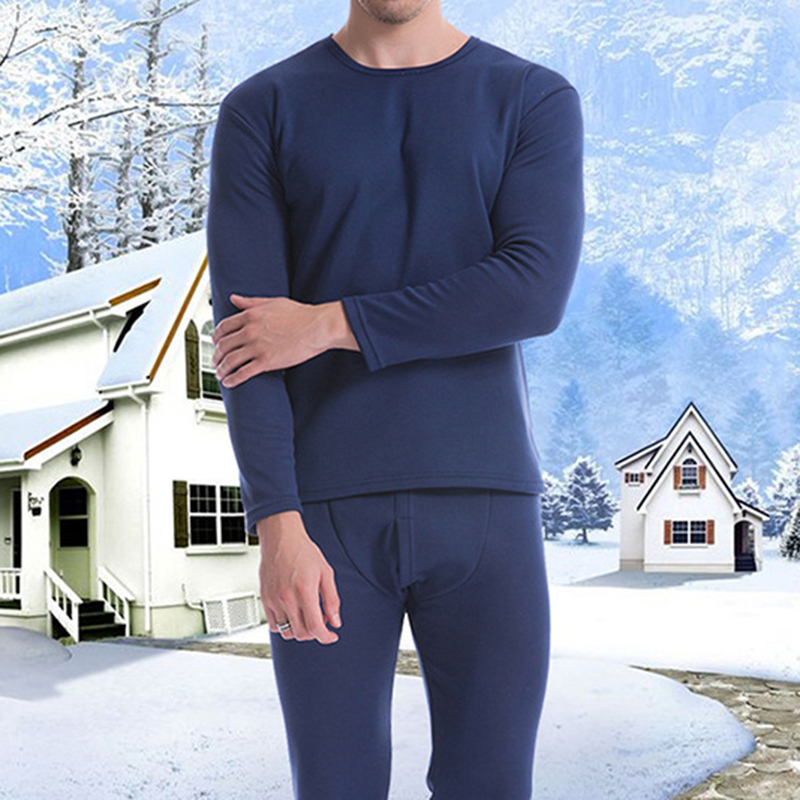 Mens Thermal Pajama Set Velvet Thick Warm Long Johns Set