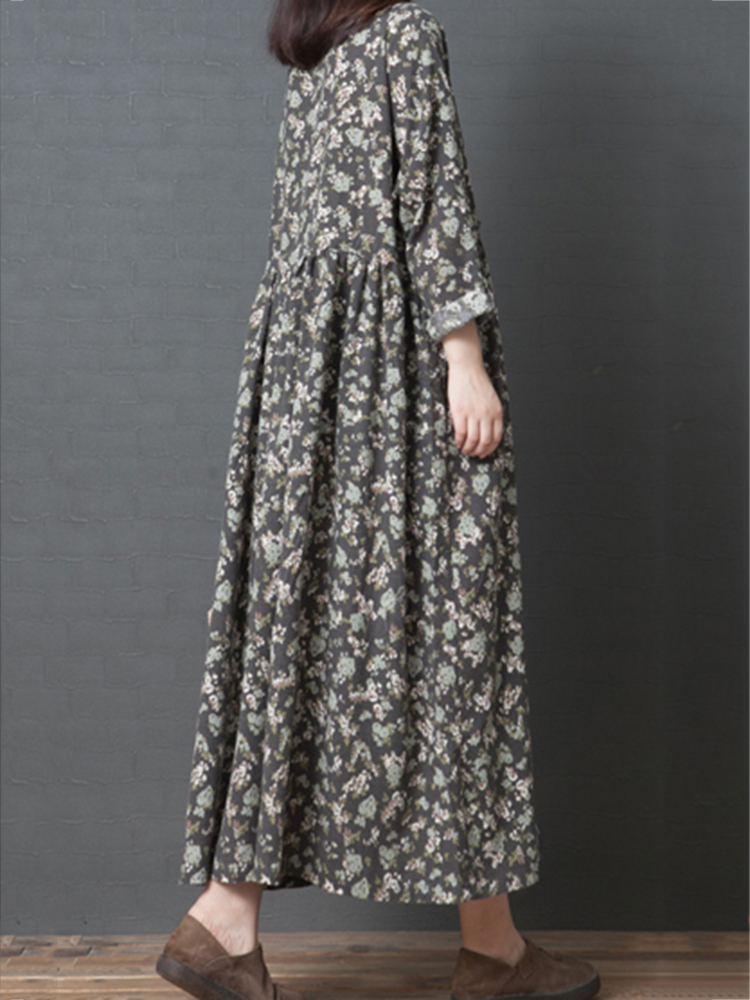 Floral Print Long Sleeve O-neck Mid-long Vintage Dress