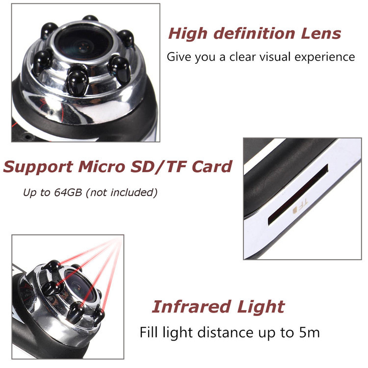 QQ5 170 Degree Angle Full HD 1080P 720P Infrared Night Vision DV Mini Sport Security Camera Camcorder