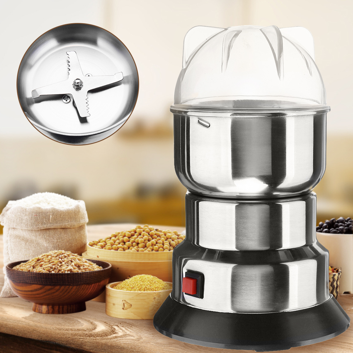 220V 200W Electric Grain Mill Spice Herb Grinder Pulverizer Powder Machine