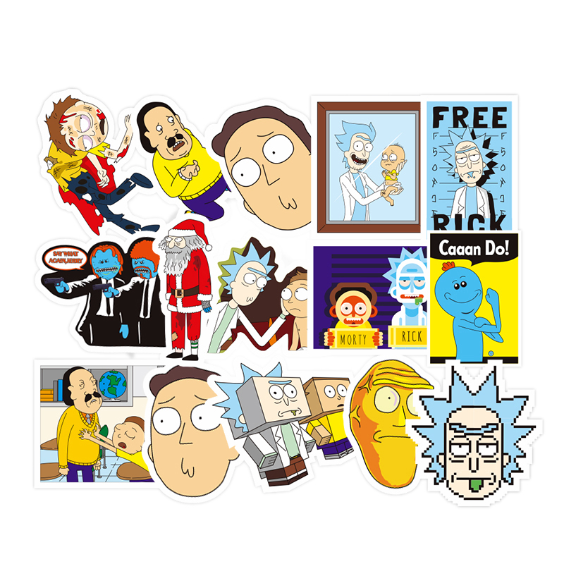 45 Pcs Funny Rick and Morty Toy Stickers Fashion Cartoon Graffiti Decal Sticker Home Decor Toys Luggage Laptop Sticker