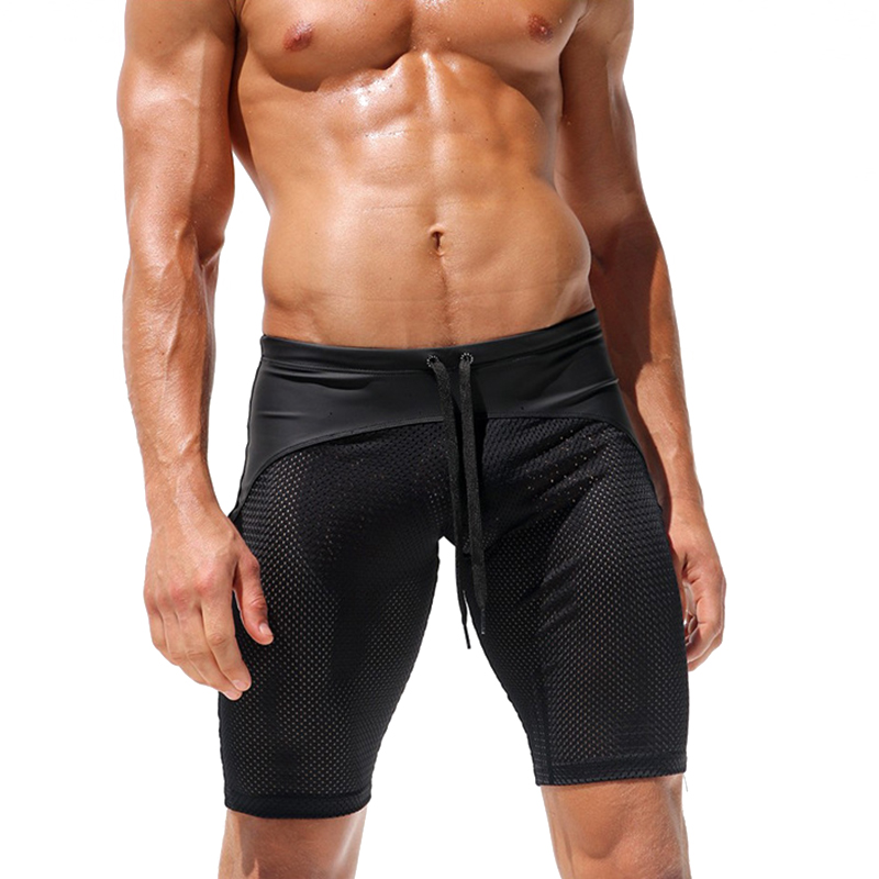 Mens Sexy Mesh Contrast Color Splice Gym Sports Shorts