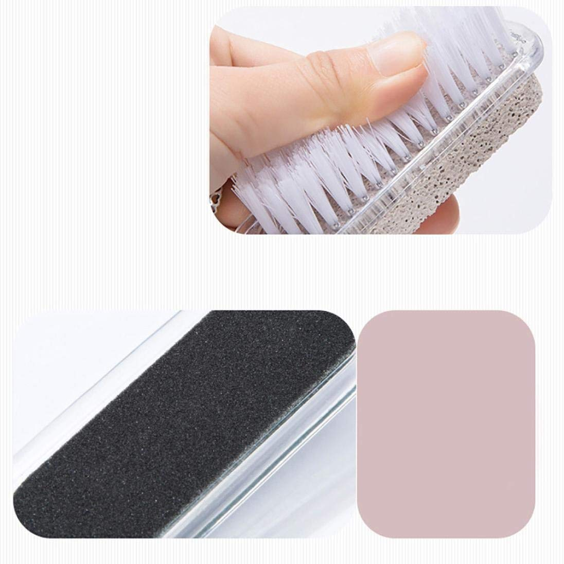 Home Foot Pumice Stone 4 in 1 Stone Dead Skin Remover Brush Pedicure Grinding Fad Double Head Cleaning Brush