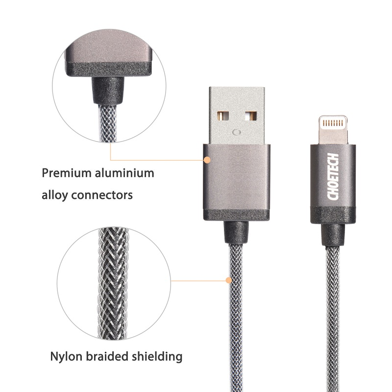CHOETECH 3.3ft/1m Nylon Braided Data Transmission Charging Cable with MFi Certified For iPhone iPad