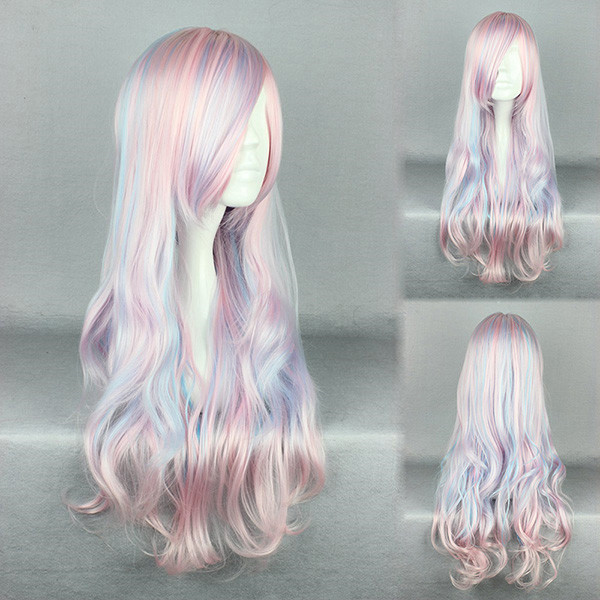 Color Gradients Romantic High-Temperature Resistance Synthetic Hair Wig Cosplay Costume