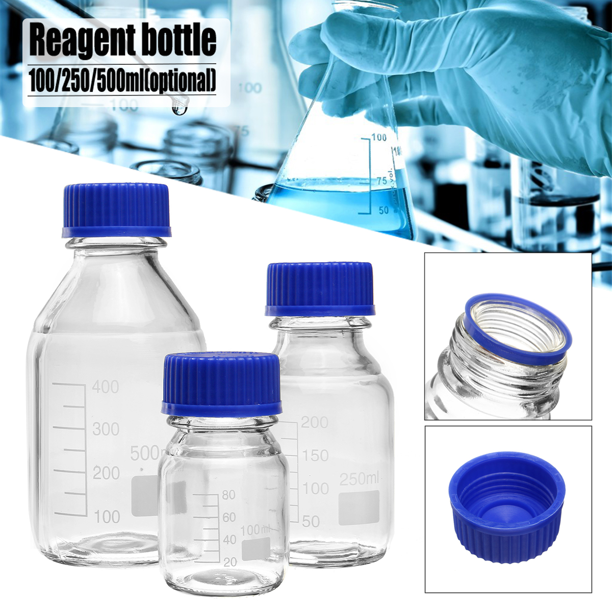 100/250/500mL Borosilicate Glass Clear Reagent Bottle Blue Screw Cap Lab Medical Storage Bottle