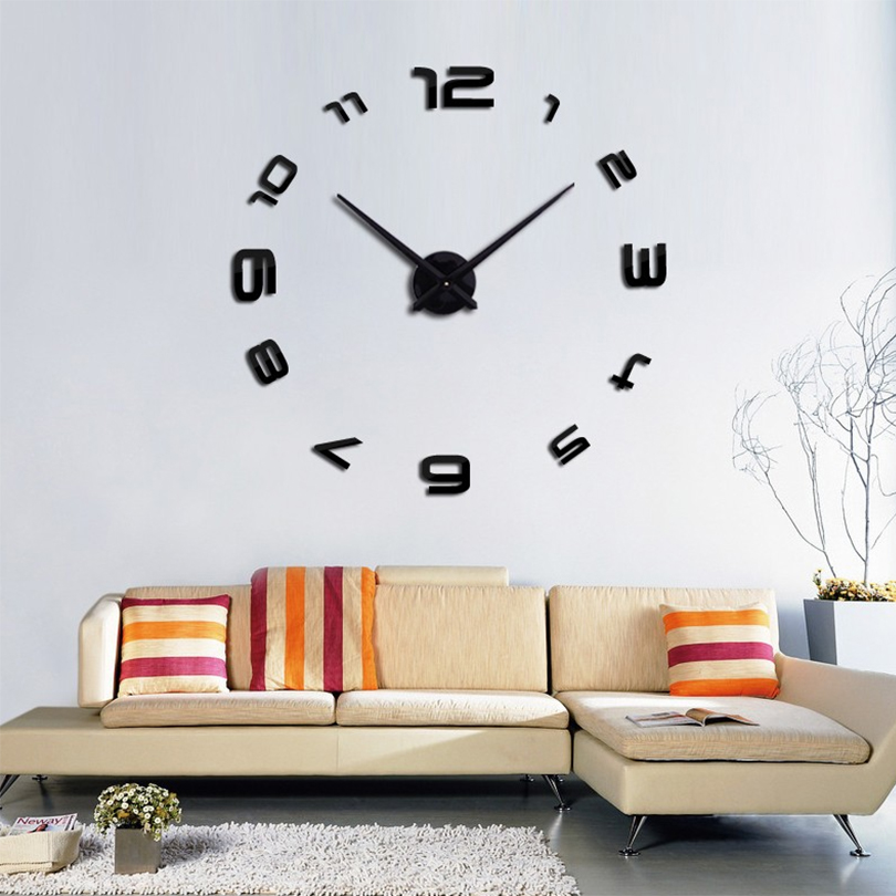 Large DIY 3D Wall Clock Home Decor Mirror Sticker Art D