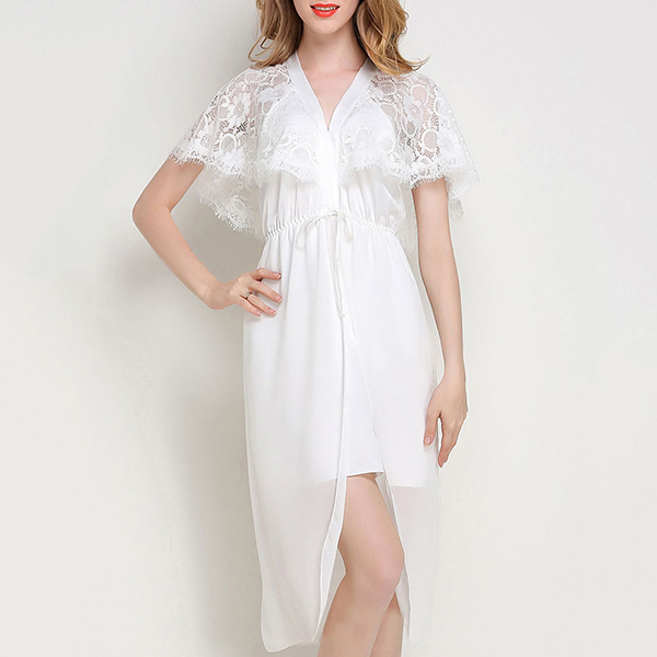 Silk Lace Soft Plunge Split Temptation Nightgown