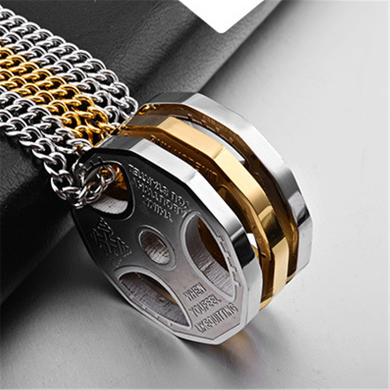 Trendy Titanium Stainless Steel Fitness Gym Necklace Barbell