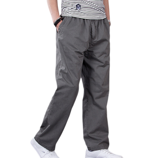 Big Size Thin Casual Overalls Pants Men's Elastic Waist Drawstring Jogging Loose Sports Trousers