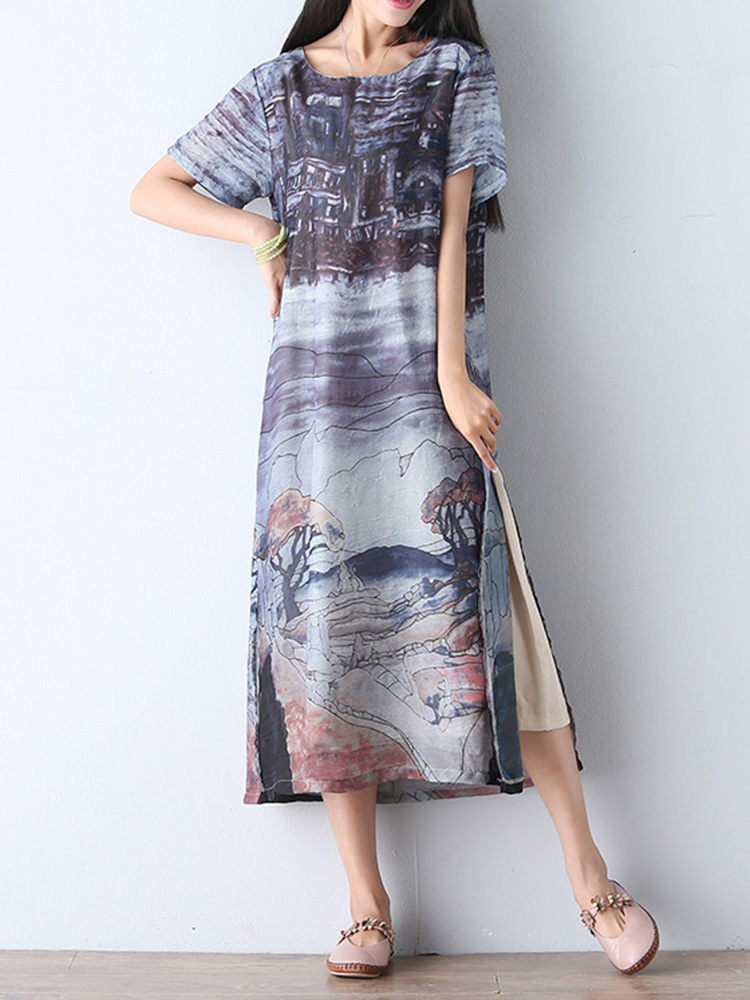 Vintage Women Scenery Print Two Piece Loose Dresses