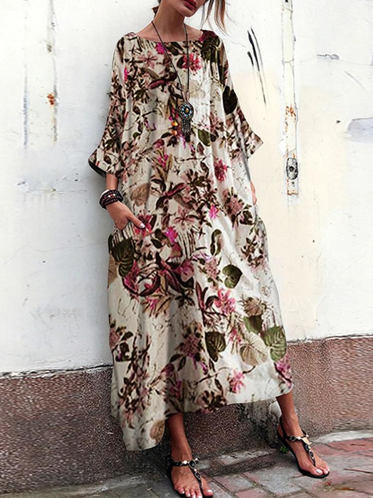 Women 3/4 Sleeve Crew Neck Floral Print Vintage Maxi Dress