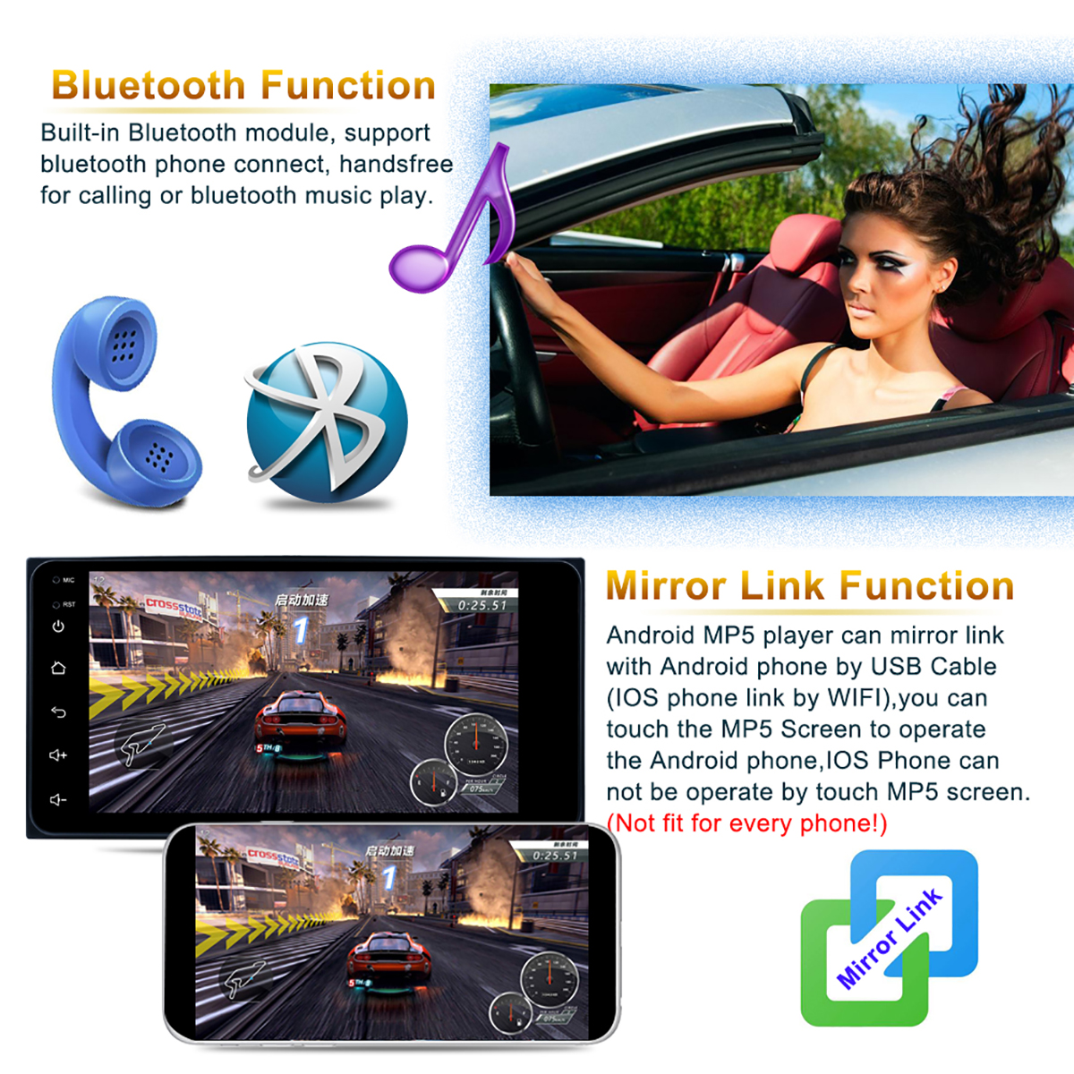 2Din 7.0 Inch Android 8.1 1080P GPS WiFi bluetooth Car Stereo Radio MP5 Player For TOYOTA