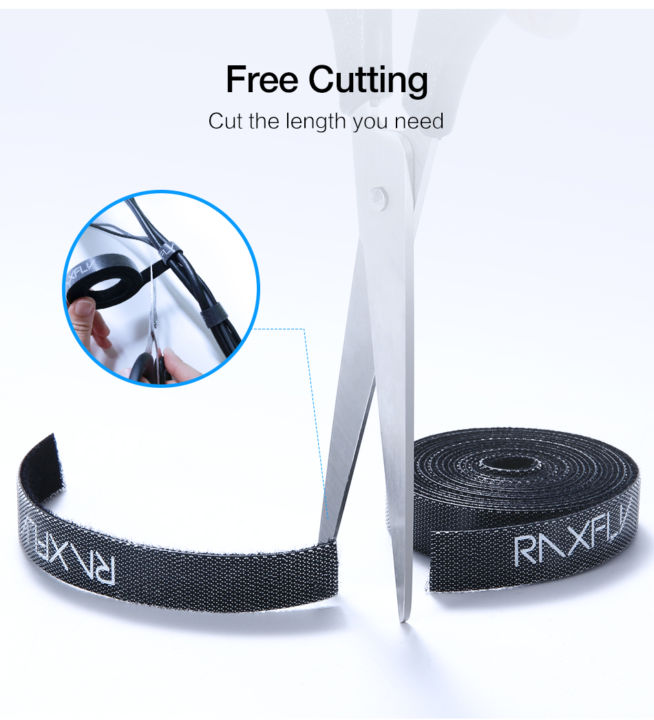 RAXFLY Reusable Cable Organizer Wire Management Winder Cord Earphone Line Holder 1M 3M