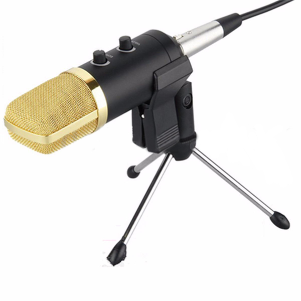 Black USB Microphone with Anti-wind Foam Cap and Stand for Recording Studio
