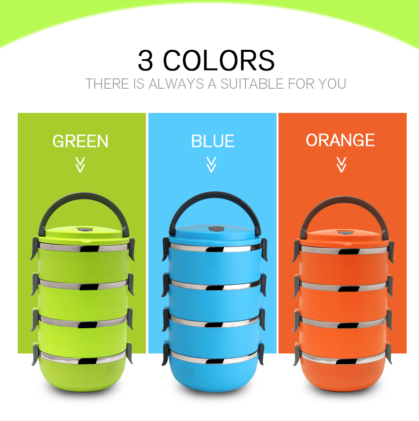 4 Layers Stainless Steel Portable Lunch Bento Box Thermal Insulated Lunch Box for Food Container