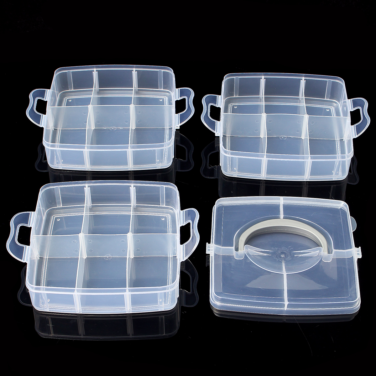 Transparent Plastic Compartment Storage Box 3 Layer Tool Jewelery Craft Beads Organizer Case