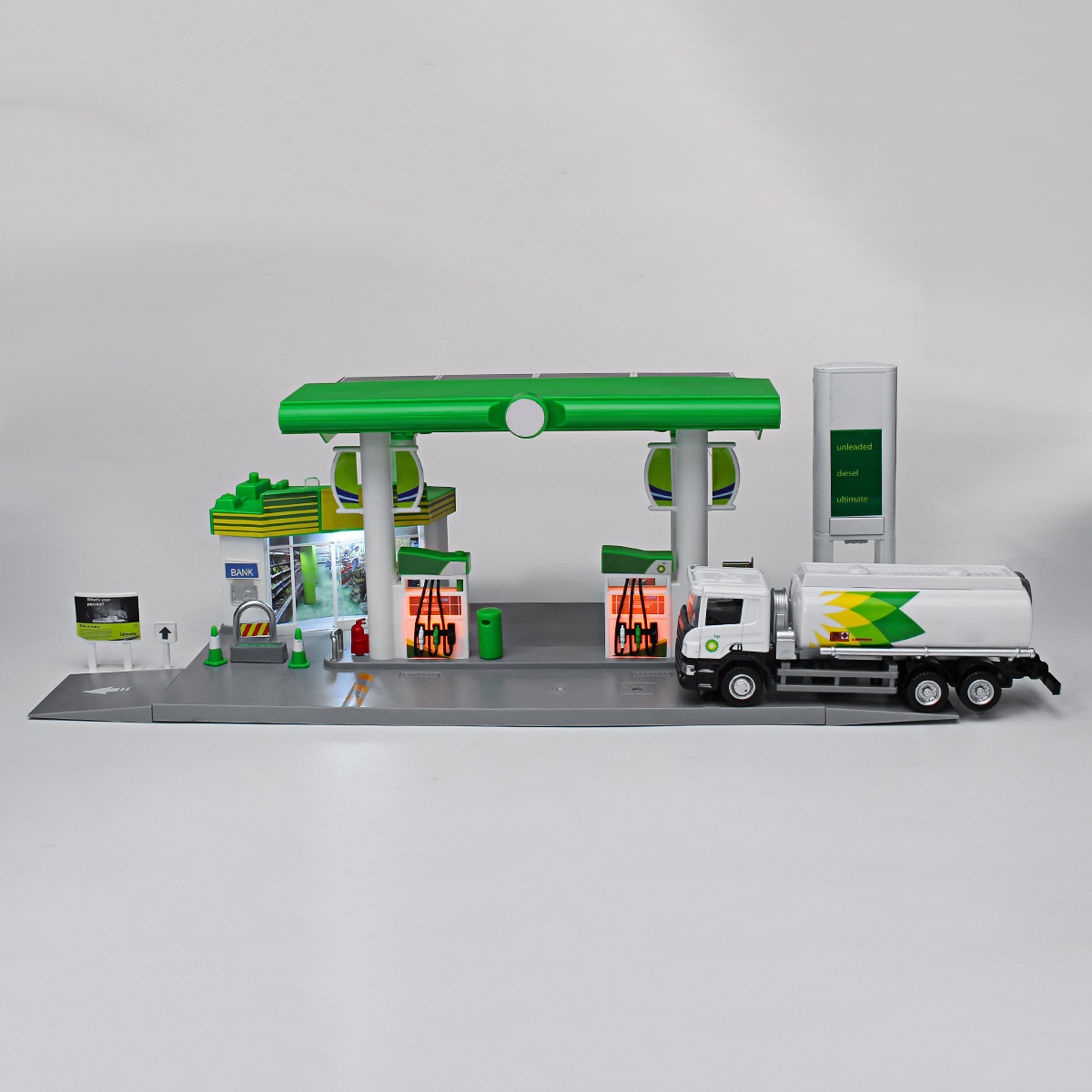 Children Simulation Gas Station Scene Model Toys With Sound Light Kids Xmas Gift