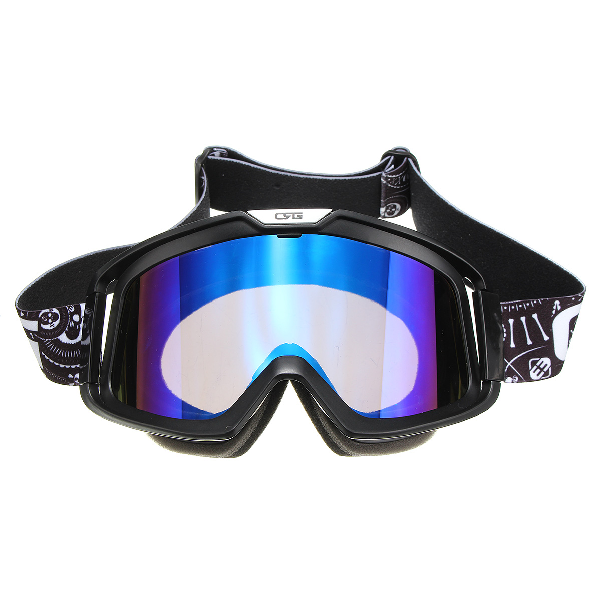 Detachable Modular Face Mask Shield Goggles Blue Lens For Motorcycle Helmet Riding